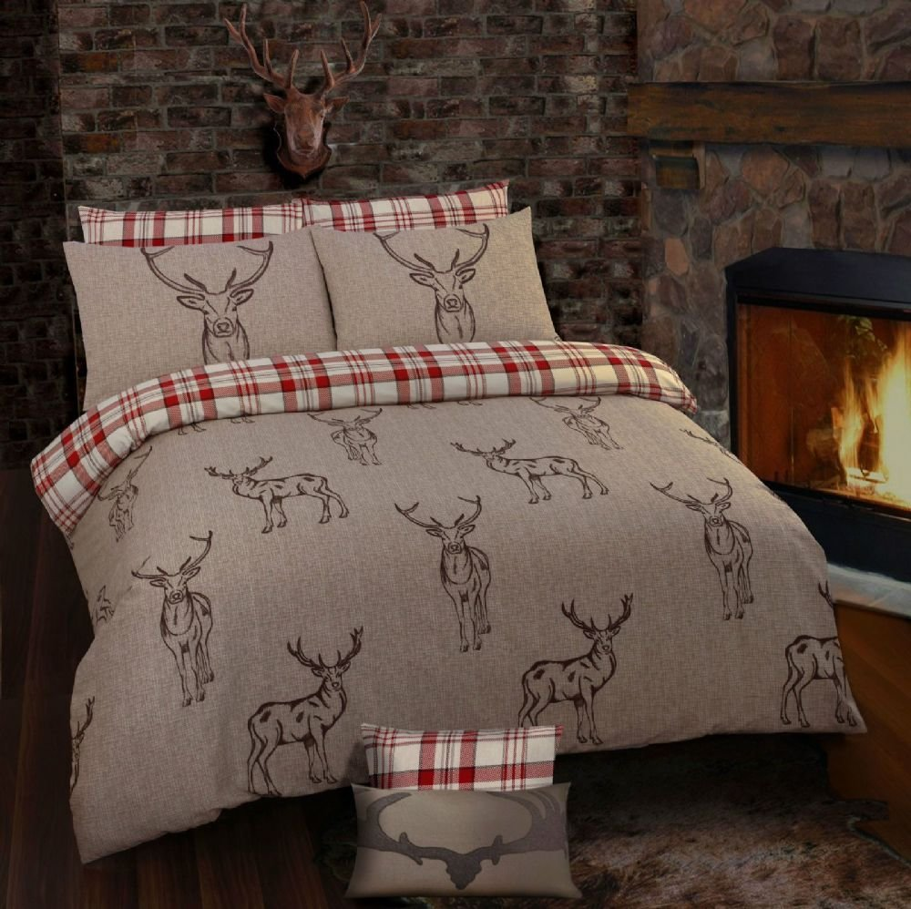 Best Stag Rein Deer Tartan Check Reversible Themed Design With Pictures